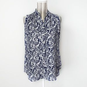 Cabi Plaza top XS blue white abstract floral